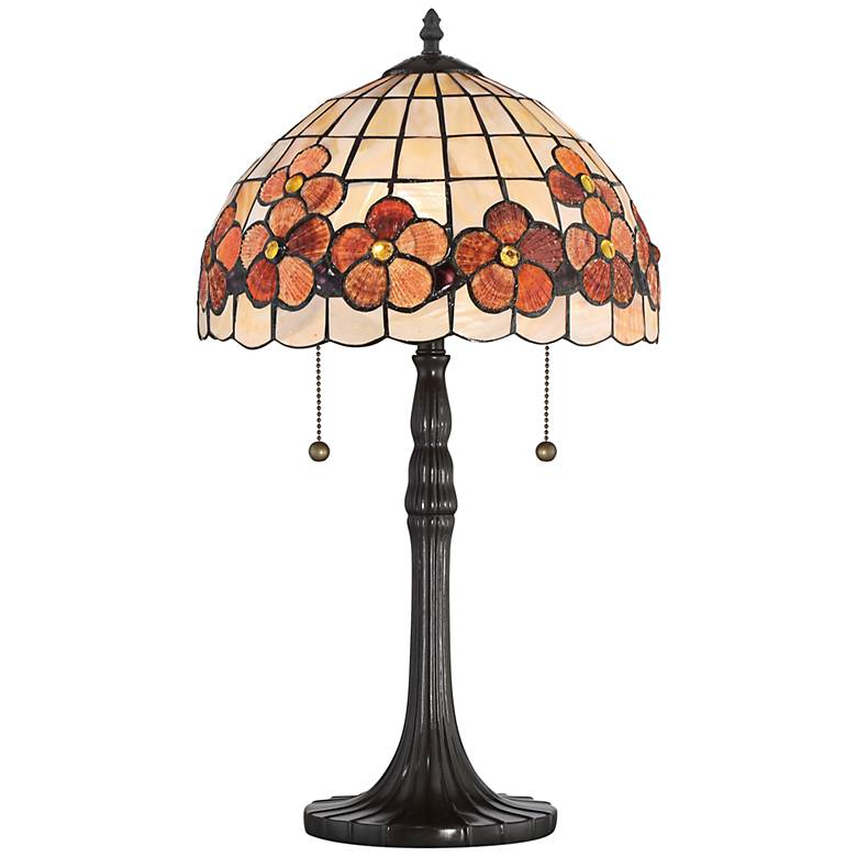 Quoizel Captiva Floral Shell Vintage Bronze Table Lamp