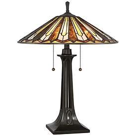 64d5837c2252 Quoizel Lance Tiffany Style Art Glass Bronze Table Lamp