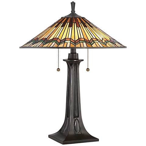 Quoizel Alcott Mission Valiant Bronze 2-Light Table Lamp