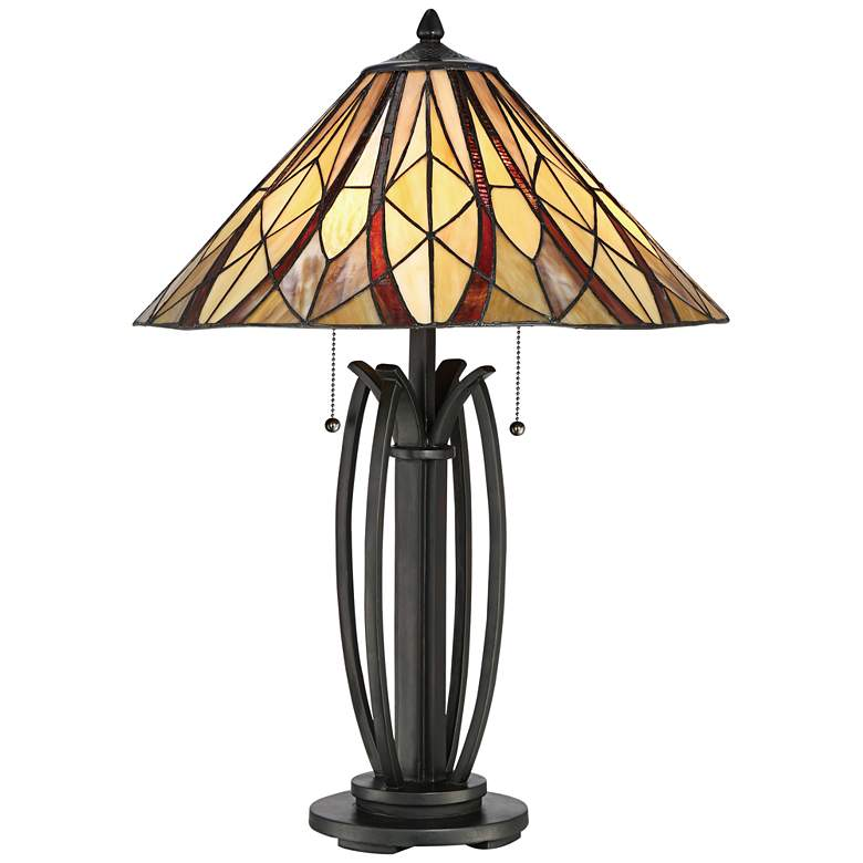 Quoizel Victory Tiffany-Style Bronze 2-Light Table Lamp