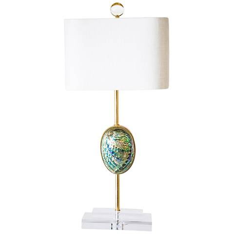 Couture sausalito iridescent abalone shell table lamp 1m328 couture sausalito iridescent abalone shell table lamp aloadofball Images