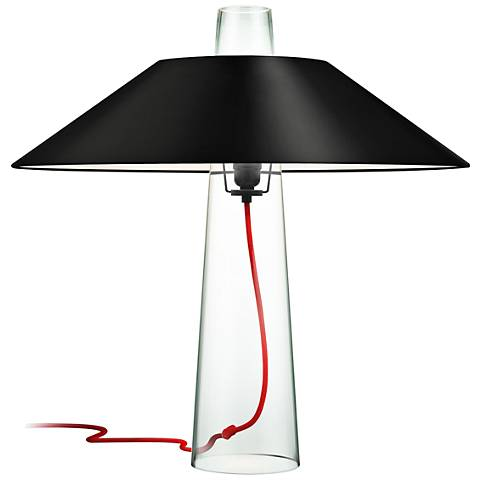 Sonneman Sky Clear Glass Table Lamp with Black Shade