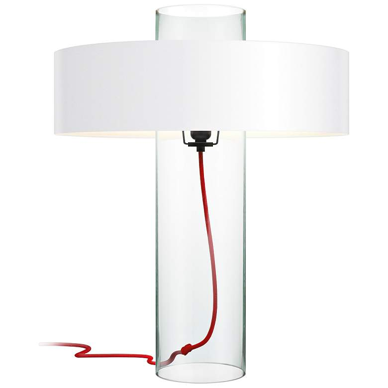Sonneman Level Clear Glass Table Lamp with White Shade