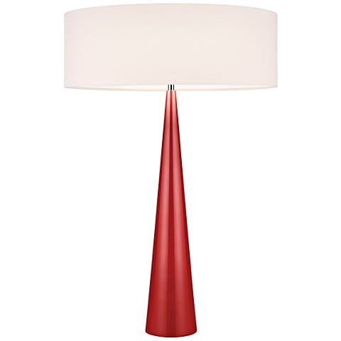 Big Table Cone Glossy Red Table Lamp with Linen Shade