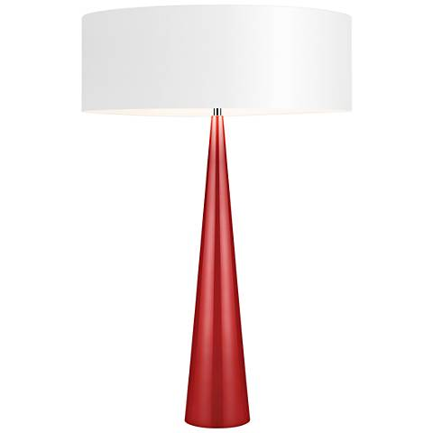 Big Table Cone Glossy Red Table Lamp with Paper Shade