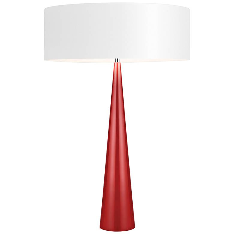 Big Table Cone Glossy Red Table Lamp With Paper Shade 1m363