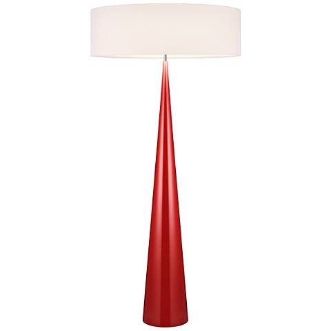 Big Floor Cone Glossy Red Floor Lamp with Linen Shade