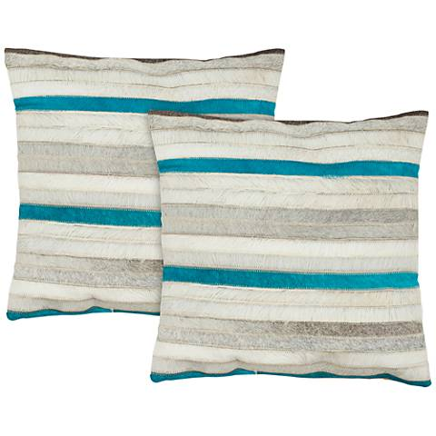"Safavieh Quinn 18"" Square Striped Accent Pillow Set of 2"