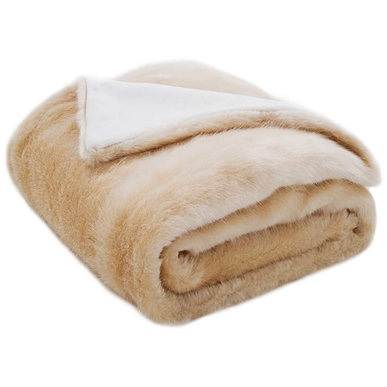 Safavieh Creamy Pearl Faux Glistened Mink Throw Blanket