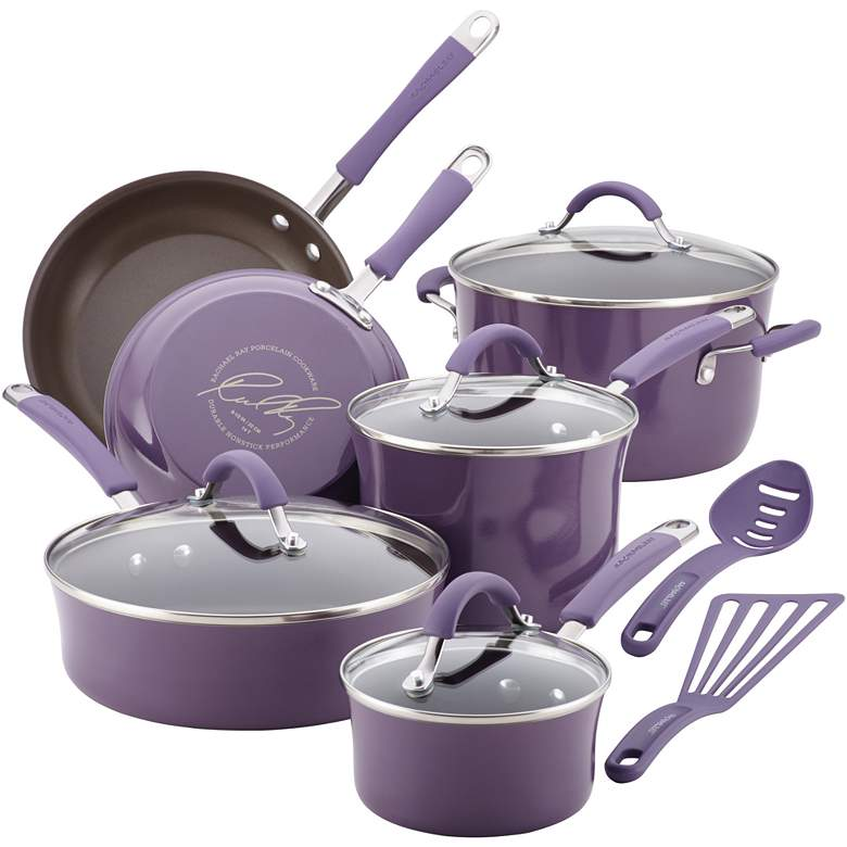 Rachael Ray Lavender Nonstick 12-Piece Cookware Set