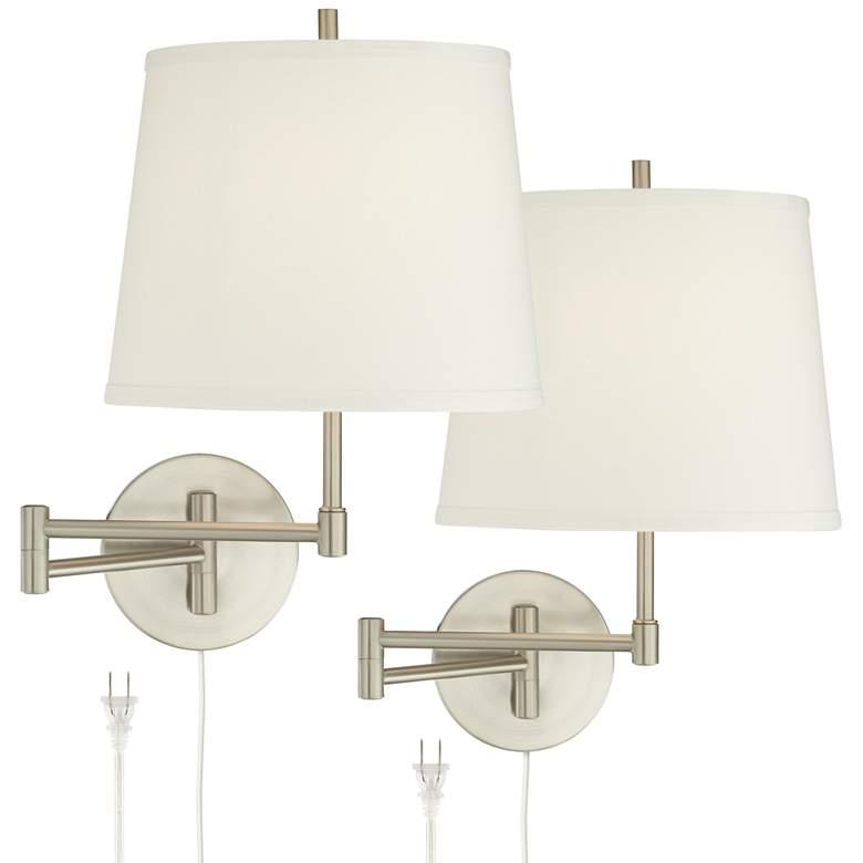 Oray Brushed Nickel Swing Arm Wall Lamp Set of 2