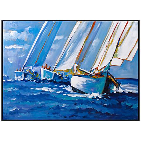"""Sail Away 48"""" Wide Framed Oil Painting Canvas Wall Art"""