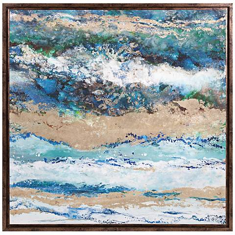 """Seaside Waves 38"""" Square Framed Canvas Wall Art"""