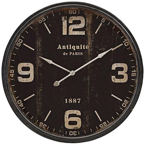 "Robertson Black 38 1/2"" Round Wall Clock"