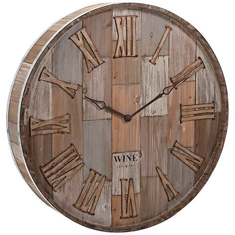 "Wine Barrel Wood 28"" Round Wall Clock"