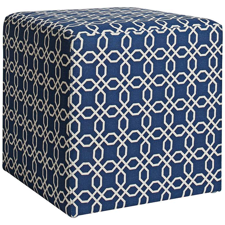 William Chain Link Navy Blue Fabric Cube Ottoman