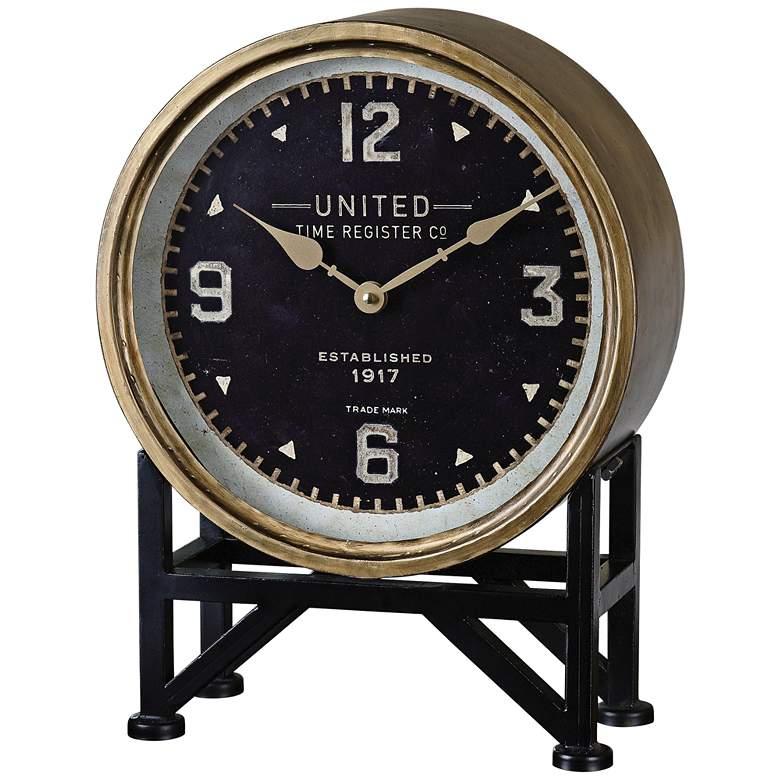 "Uttermost Shyam Vintage Brass 16"" High Table Clock"