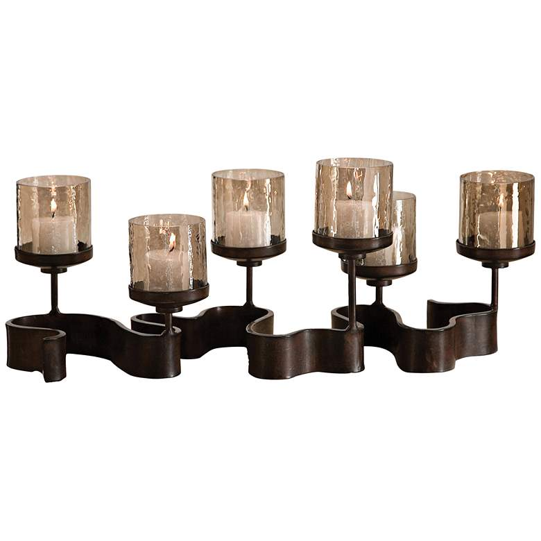 "Uttermost Ribbon Bronze 24"" Wide Iron Pillar Candle Holder"
