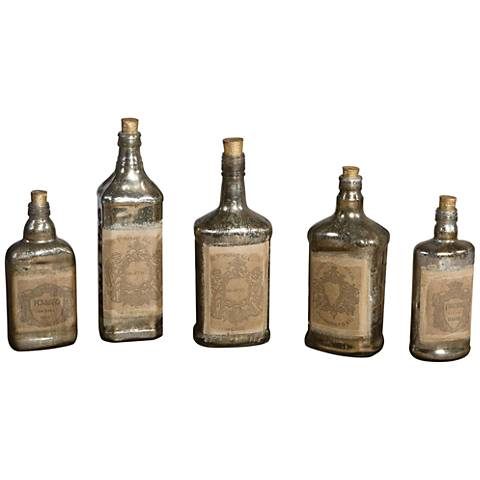 Uttermost Recycled 5-Piece Mercury Glass Bottle Set