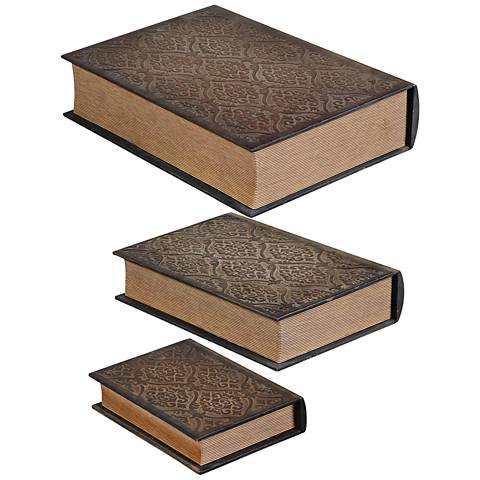 Uttermost Script Mahogany 3-Piece Antique Book Box Set