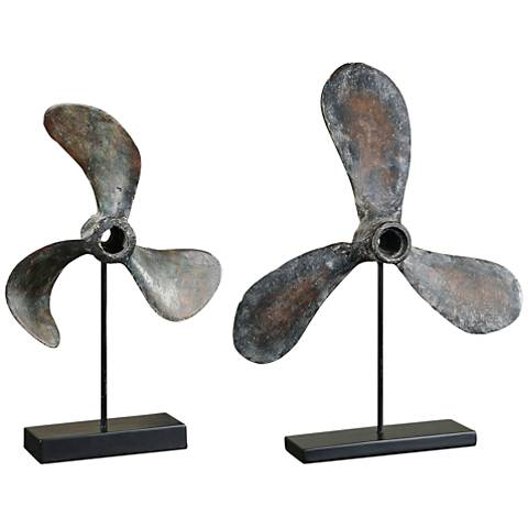 Uttermost Propeller 2-Piece Nautical Boat Sculpture Set