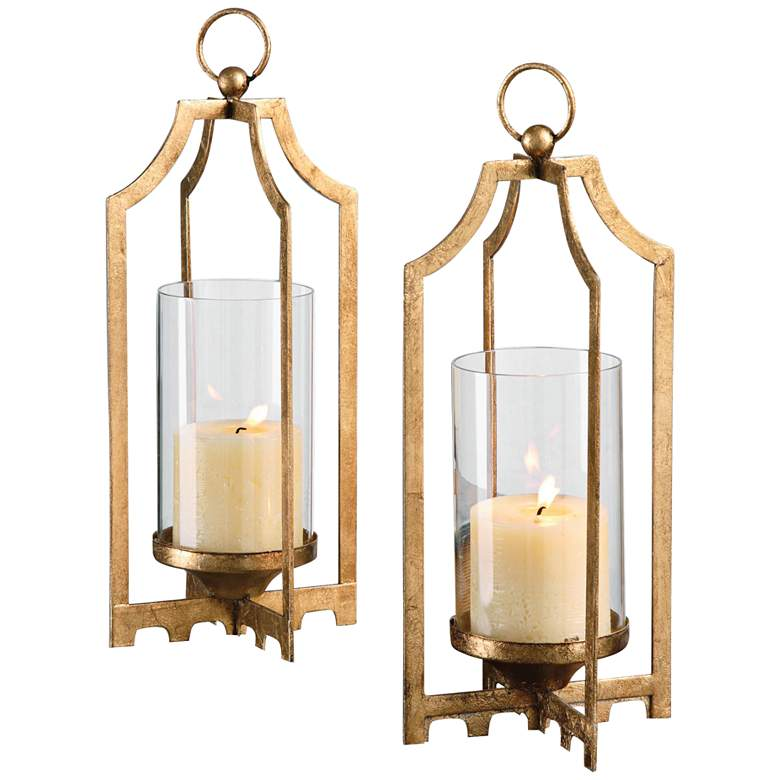Uttermost Lucy Gold Hanging Table Candle Holder Set of 2