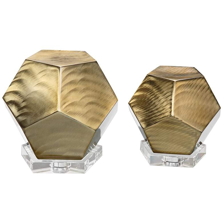 Pentagon Bronze Cubes Sculptures - Set of 2 by Uttermost