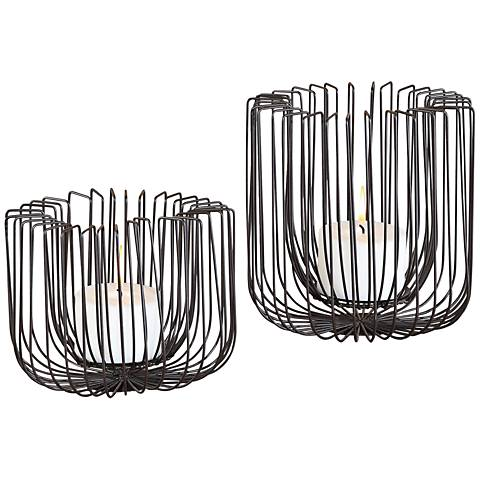 Uttermost Flare Matte Black Pillar Candle Holder Set of 2