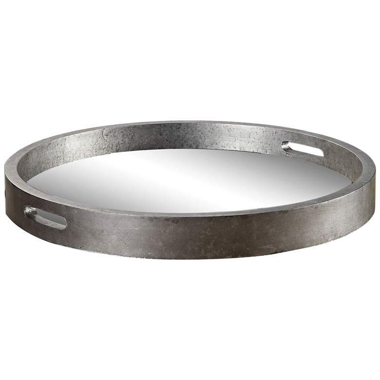 """Bechet 22 1/4"""" Wide Mirrored Antique Silver Tambourine Tray"""