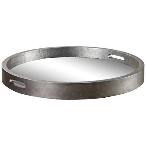 Uttermost Bechet Mirrored Antique Silver Tambourine Tray