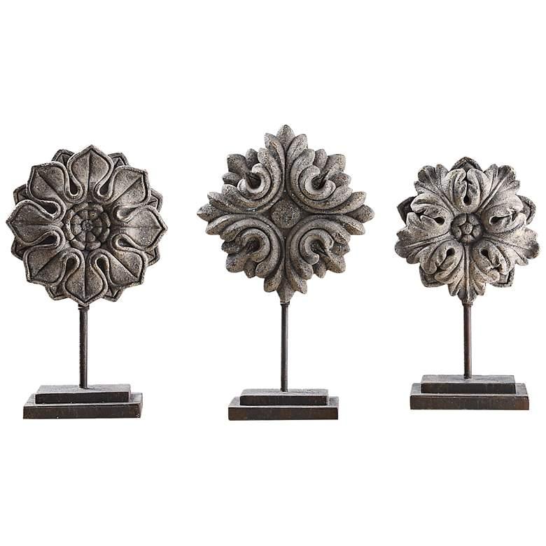 Uttermost Alarik 3-Piece Ivory Floral Sculpture Set