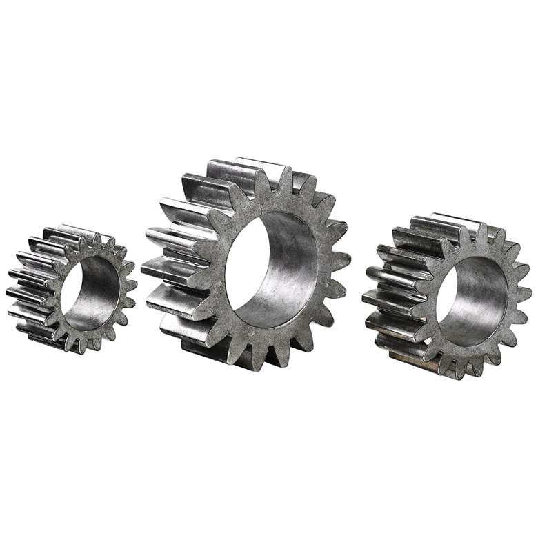 Uttermost Industrial Gears Silver Sculptures - Set of 3