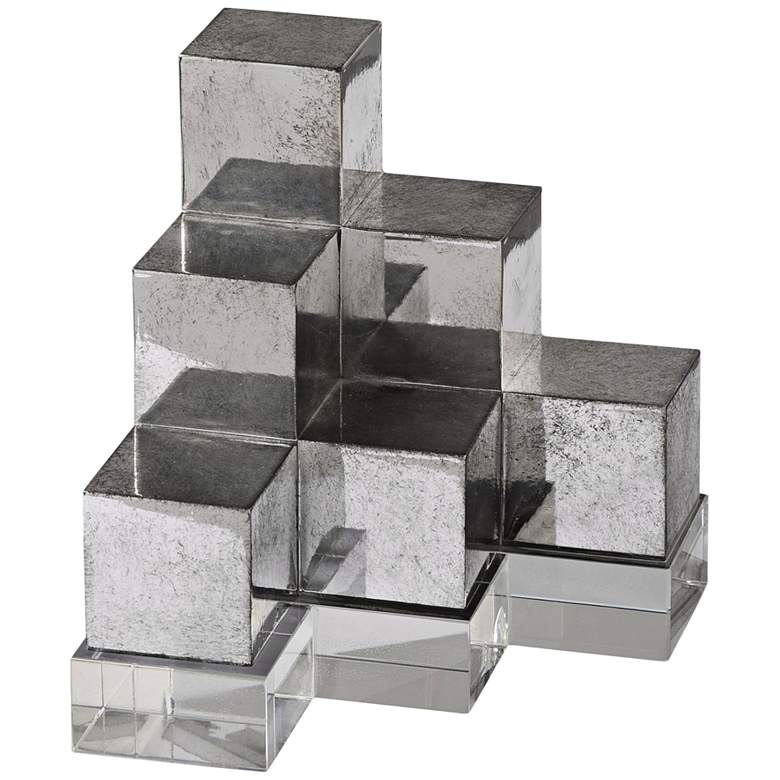 Uttermost Tarnished Silver Geometric Cube Stack Bookends