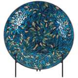Peacock Mosaic Round Decorative Charger and Stand
