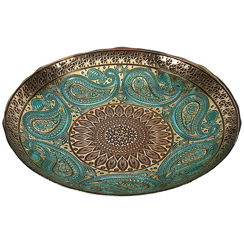"""Paisley Peacock Blue and Gold 16"""" Wide Decorative Glass Bowl"""