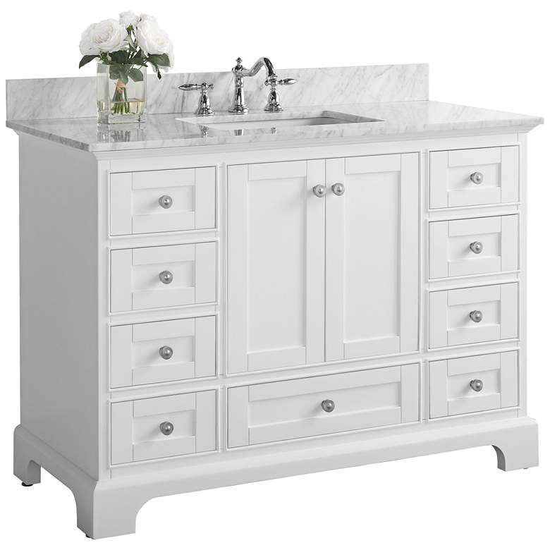 "Audrey 48""W Brushed Nickel White Marble Single Sink"