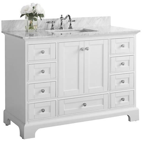 """Audrey 48""""W Brushed Nickel White Marble Single Sink Vanity"""