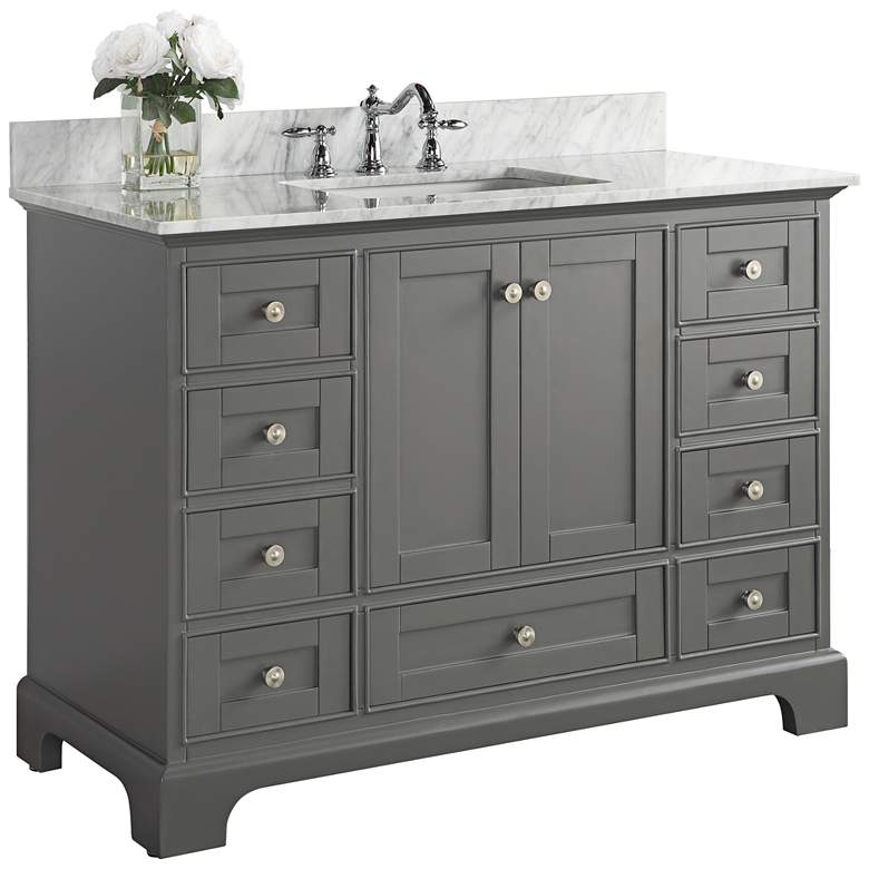 """Audrey Sapphire Gray 48"""" White Marble Single Sink"""