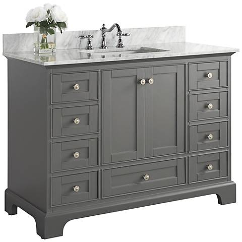 "Audrey Sapphire Gray 48"" White Marble Single Sink Vanity"
