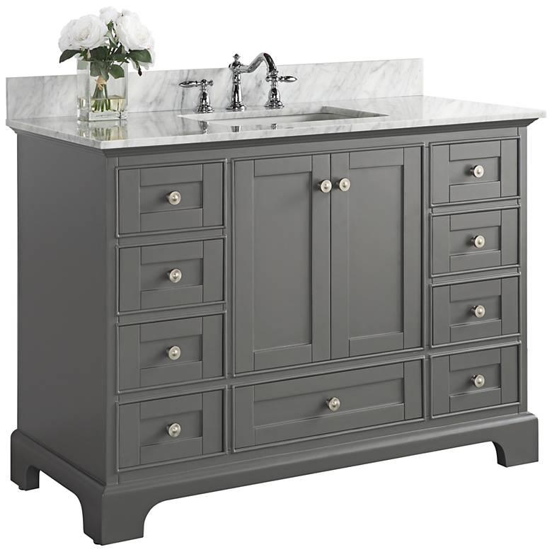 "Audrey Sapphire Gray 48"" White Marble Single Sink Vanity"
