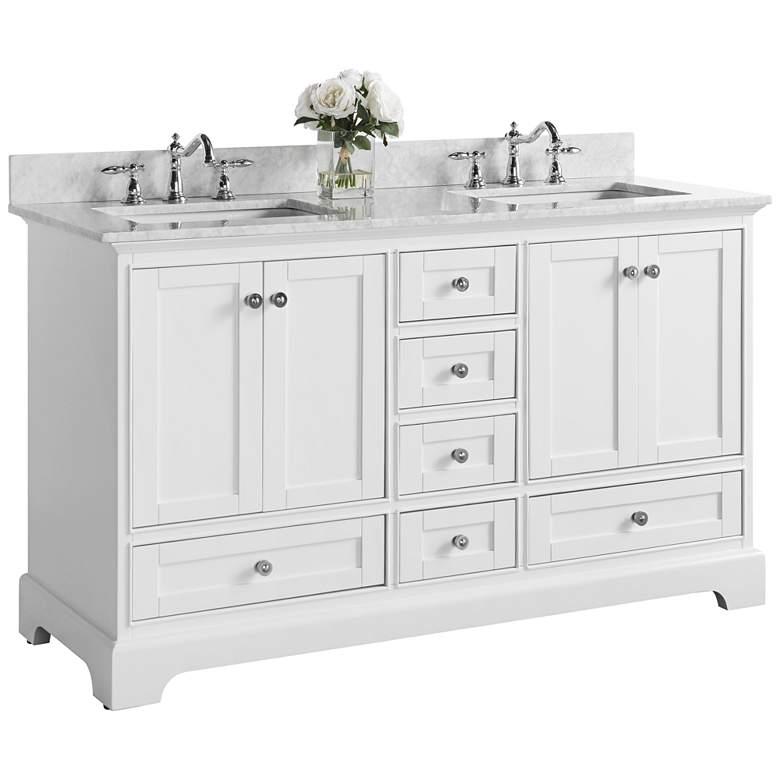 "Audrey White 60""W Italian White Marble Double Sink Vanity"