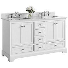 "Audrey White 60"" Italian White Marble Double Sink Vanity"