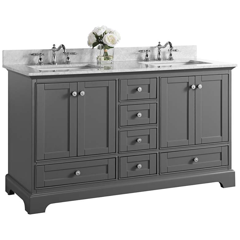 """Audrey Sapphire Gray 60"""" White Marble Double Sink"""