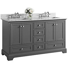"""Audrey Sapphire Gray 60"""" White Marble Double Sink Vanity"""