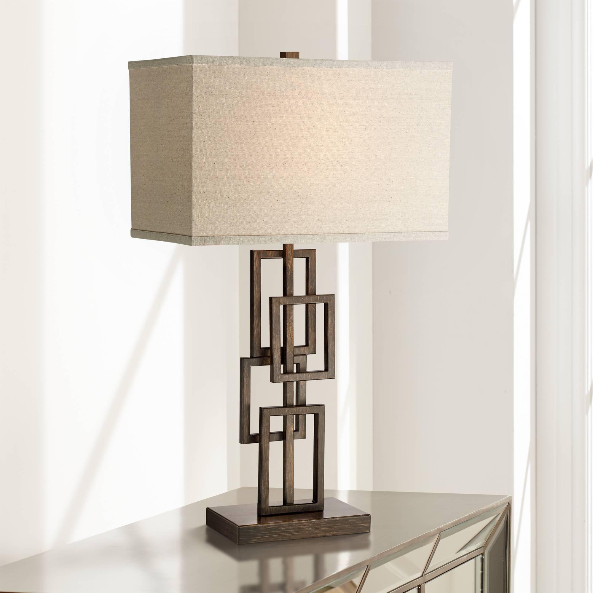 Modern Table Lamp Dark Bronze Stacked