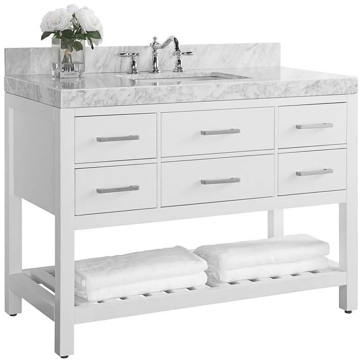 Elizabeth 48 Wide Nickel White Marble, 48 Single Sink Bathroom Vanity