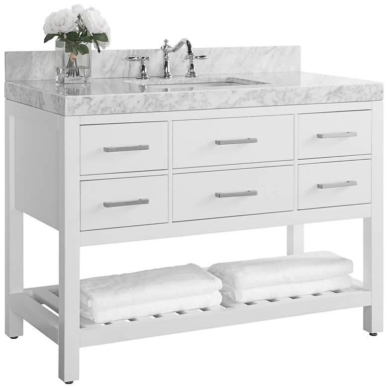 """Elizabeth 48"""" Wide Nickel White Marble Single Sink Vanity"""