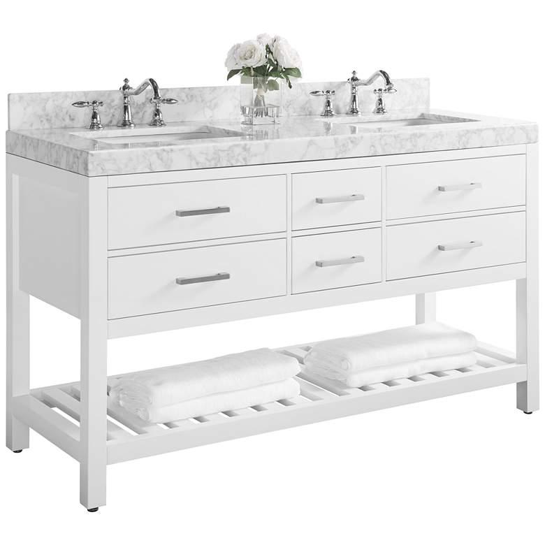 """Elizabeth 60"""" Nickel White Italian Marble Double Sink"""