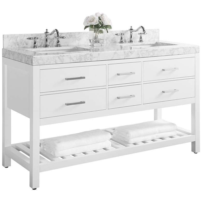 "Elizabeth 60"" Nickel White Italian Marble Double Sink Vanity"