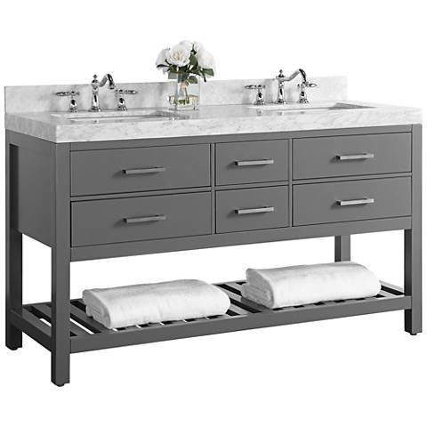 Elizabeth Sapphire Gray 60 Marble Top Double Sink Vanity 1m904